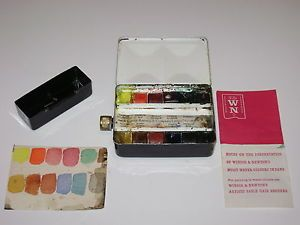 Winsor Newton Watercolor Paint Travel Box Enamel Metal Case Nice