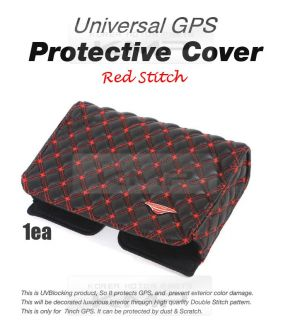 Car Universal GPS Protective Case Leatherette Cover Skin Red Stitch