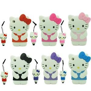 3D Hello Kitty Cartoon Cute Case Cover Stylus Pen for iPod Touch 4 4G iTouch 4