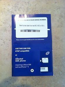 Genuine Straight Talk Micro Sim Card for Unlocked GSM Phones 4 4S not Net10