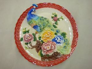 Peacock 3D Exquisite Porcelain Fine Detail Painted Shabby Chic Decor Wall Plate