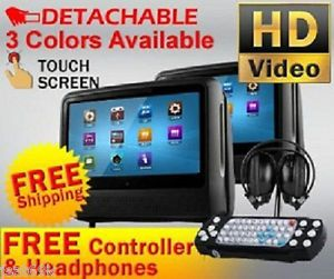 "New Black Dual 9"" Digital Touchscreen Headrest LCD Car Monitor DVD Player USB"