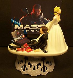 Video Game Bride Groom Wedding Cake Topper Funny Headphones Laptop Chip 1