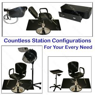 4 Reclining Barber Chair Styling Station Shampoo Bowl Hair Dryer Salon Equipment