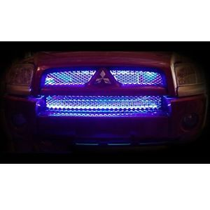 Car Truck SUV Grill LED Lights 2 Piece Kit Universal Grille Blue
