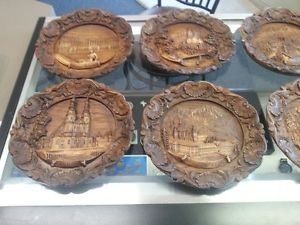 Vintage German Carved Wooden Resin 3D Wall Plate Plaque Sign SIC Set of 14