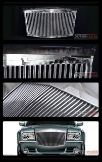 Chrome RR Vertical Style Front Hood Bumper Grill Grille 04 10 Chrysler 300 300C