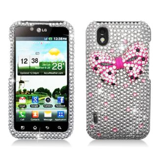 Sprint LG Marquee LS855 Bling Rhinestone Diamond Crystal Pink Bow Tie Case Cover