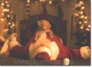 Pup Jumps on Santa 10 Golden Labrador Retriever Boxed Christmas Cards