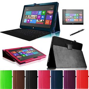 "10 6"" Microsoft Surface RT Tablet Folding Stand Leather Smart Cover Case Film"