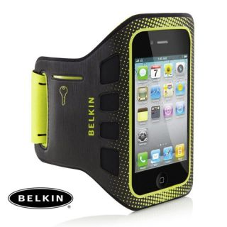 Belkin Black Yellow Easefit Sports Armband Case for iPhone 4 4S F8Z894CWC00