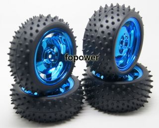 RC 2pcs Front 2pcs Rear Tires Rim Grip Tyre Wheel 1 10 Off Road Car 7009 7005