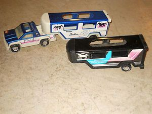Toy Nylint 2 Horse Trailers and Truck Barbie Horses Farm Stable 5th Wheel