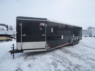 8583 Used 2010 American Hauler 7x35' Triple Axle Enclosed Snowmobile Trailer 10K