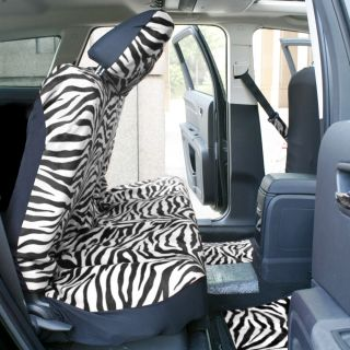 21pc Black White Zebra Print Seat Covers Full Set Floor Mats Wheel Belt Pad Head