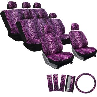 25pc Violet Pink Leopard Van Seat Covers Extra Bench