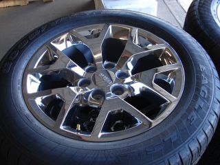 "4 2014 20"" Sierra Yukon Denali 12 Spoke Chrome OE Wheels Goodyear Tires"