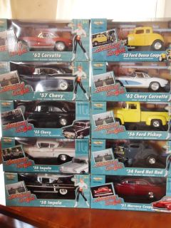 Lot of 10 Ertl American Graffiti Hot Rods Coupe Corvette 57 Chevy More