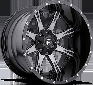 "20"" Fuel Offroad 2 PC Nutz Black Machined Rims Truck Wheels Falken Tires"