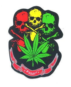 Skull Skeleton Dead Cannabis Rasta Motorcycle Car Van Truck Decals Sticker P104