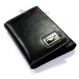 Premium Ford Mustang Horse Pony Emblem Logo Trifold Black Genuine Leather Wallet