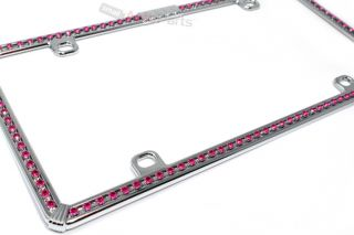 Chrome Pink Diamond Bling Custom License Plate Auto Car Truck Front Rear Frame