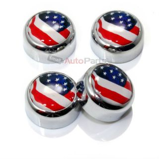 4 Chrome USA American Flag License Plate Fastener Screw Bolt Caps for Car Bike