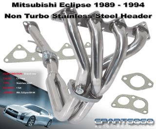1990 1994 Eclipse Talon Laser NT Non Turbo 4 2 1 3pc Stainless Exhaust Header