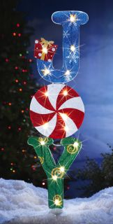 "42"" Lighted Joy Holiday Garden Lawn Yard Stake Christmas Colorful Decoration New"