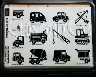 Stampin Up Fun on Wheels Stamps Set RARE Police Car Fire Truck Dump Van Trailer