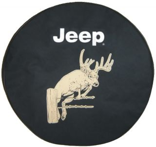 Sparecover® Brawny Series Jeep 30 White Tail Buck on Black Denim Tire Cover