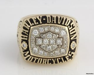 Harley Davidson Motorcycles 61ctw Genuine Diamond Ring 10K Gold Solid 33 2G