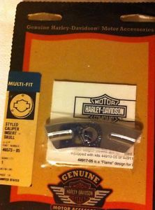 RARE Harley Davidson Chrome Brake Caliper Inserts Willie G Skull RT Lt Sides