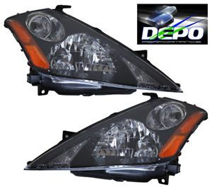03 07 Nissan Murano Black Housing Headlights Depo 04 05 06 Pair Depo
