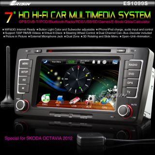 "Erisin ES1099S 7"" 2 DIN Skoda Car Stereo DVD Player GPS DIY Internet DVB T VW SD"