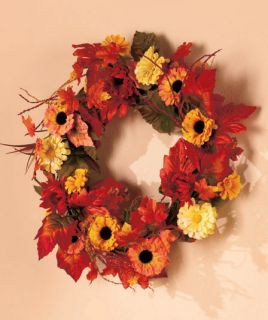 Floral Flowers Leaves Wreath Harvest Fall Metal Burlap Home Accent Decor Mantel