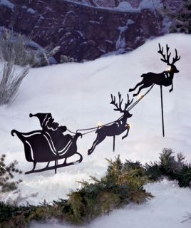 Solar Power Lighted Outdoor Santa and Reindeer Silhouettes Lawn Yard Stake Decor