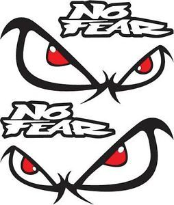2 x No Fear Eyes Car Decals Stickers Graphics Racing Ute Truck Boat Horse Float