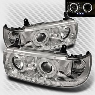 1991 1997 Toyota Land Cruiser Dual Halo LED Projector Headlights Set Head Lights