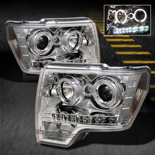 09 14 Ford F150 Pickup Truck Chrome Dual Halo Projector LED Headlights Lamps