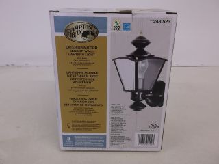 Hampton Bay 220 Degree Outdoor Motion Sensing Black Wall Lantern Lamp 248523