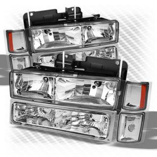 92 99 Chevy Tahoe Suburban Crystal Headlights Corner Bumper Lights Combo