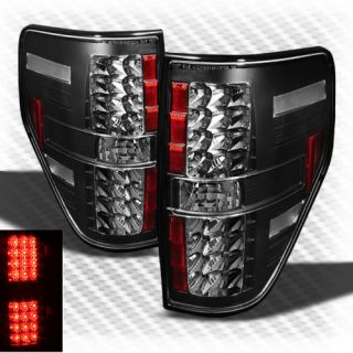 2009 2013 Ford F150 LED Black Tail Lights Rear Brake Lamps Pair New Set Light