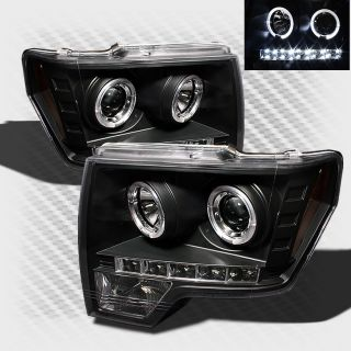 2009 2013 Ford F 150 Dual Halo LED Projector Headlights Black Pair Head Lights