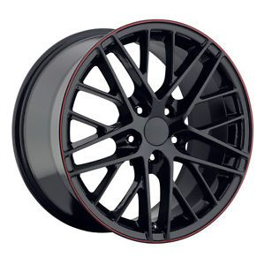 19x10 20x12 2009 ZR1 Black Red Stripe Lip C6 Z06 ZO6 Chevy Corvette Wheels Rim