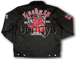 New Red Devil Hot Rod Car Chino Jacket Lucky 13