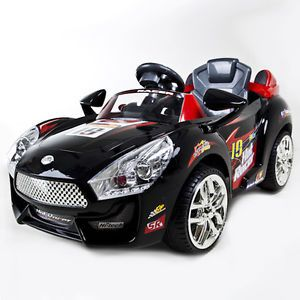 Black Hot Racer Kids Electric Power Ride on Car  RC Remote Sport Wheels