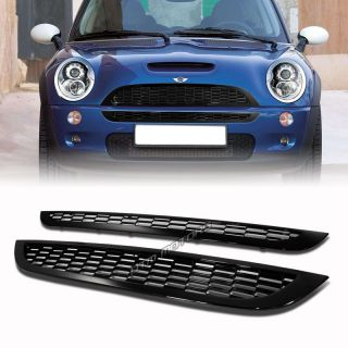 2002 2006 Mini Cooper ABS Plastic Black Mesh Style 2 Piece Front Grille