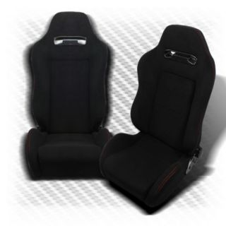 Pair Black PVC Leather Red Stitch Fully Reclinable TR Style Racing Seats Slider