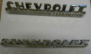 1940's Chevrolet Chevy Loadmaster Chrome Original Vintage Truck Hood Side Emblem
